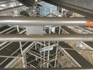 Close up shot of Verulam Water Tower scaffolding from TCS Construction