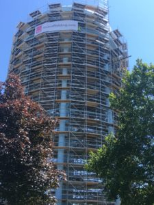 Verulam Water Tower Completely Wrapped In Scaffolding from TCS Construction